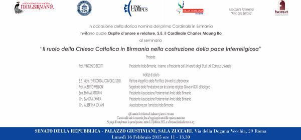 Seminario Italia Birmania Chiesa Cattolica Copertina